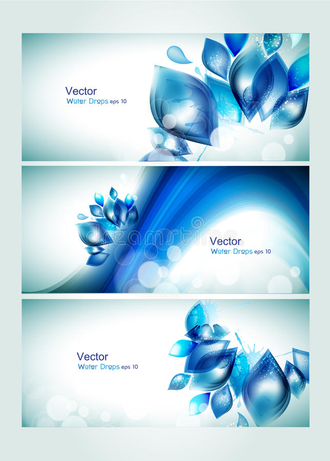 Abstract water headers with splash. Abstract water website header or banner with floral waves and sun light having splash and glitter effects. vector