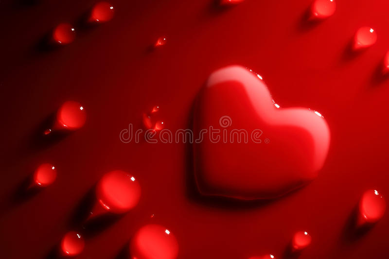 Abstract water heart. On red background royalty free stock photo