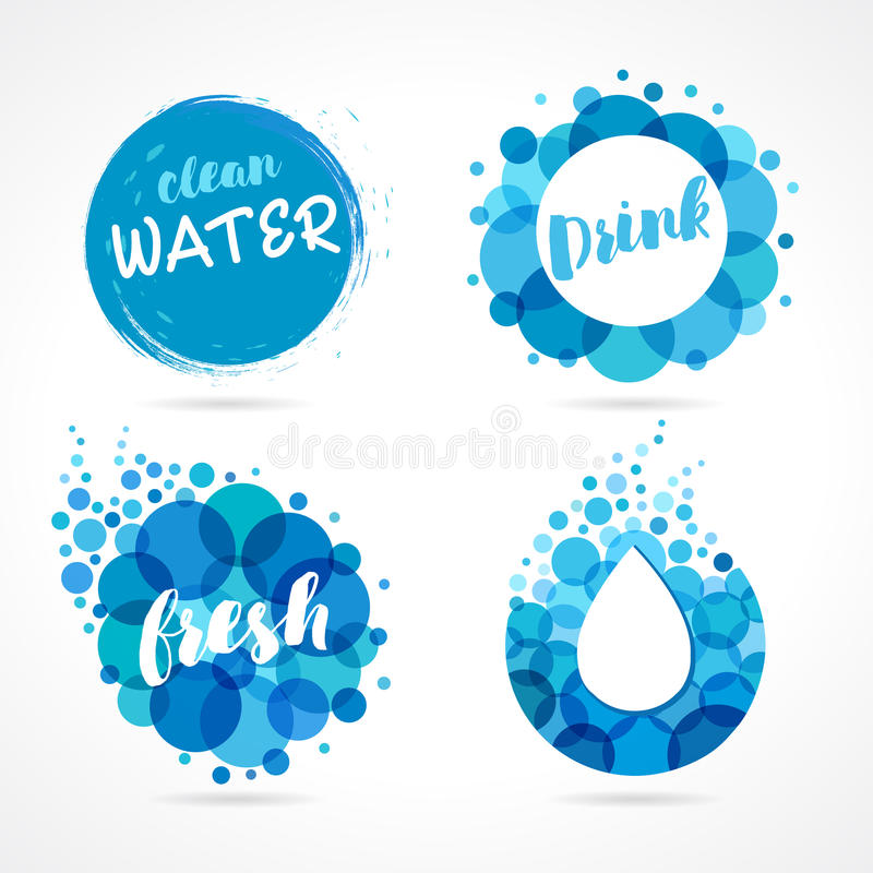 Abstract Water Logo Set Design Stock Vector Illustration Of