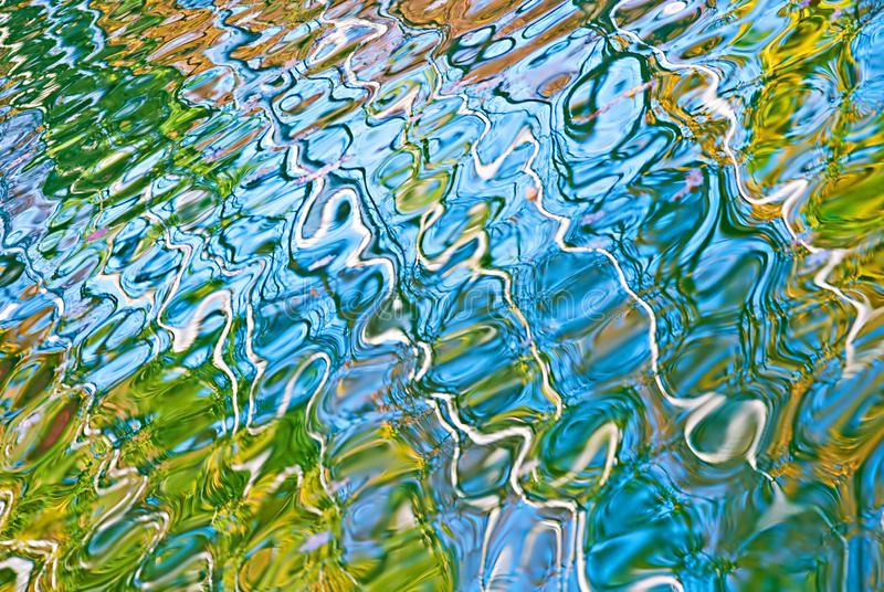 Beautiful abstract water reflection in blue, yellow and green colors. royalty free stock photography