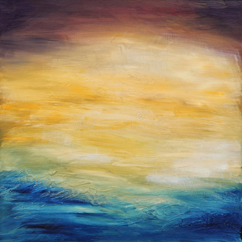 Abstract water sunset. Oil painting on canvas. Beautiful abstract textured background of evening sunset sky over the ocean. Original oil painting on canvas stock images