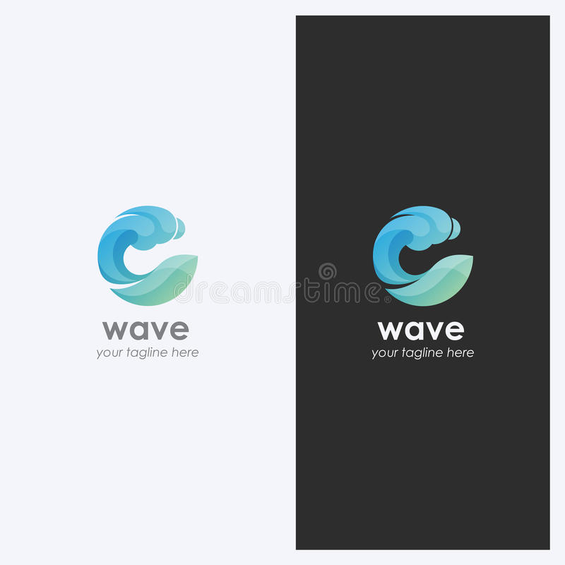 Abstract Water Wave Shape Logo Design Template. Corporate Business Theme. Cosmetics, Surf Sport Concept. Simple and Clean Style. royalty free illustration
