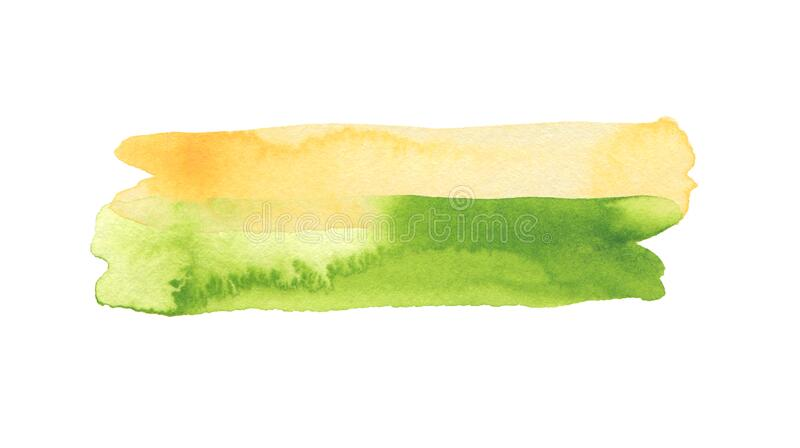 Abstract watercolor and acrylic line brush stroke blot painting. Green Color design element. Texture paper. Isolated on white royalty free stock image