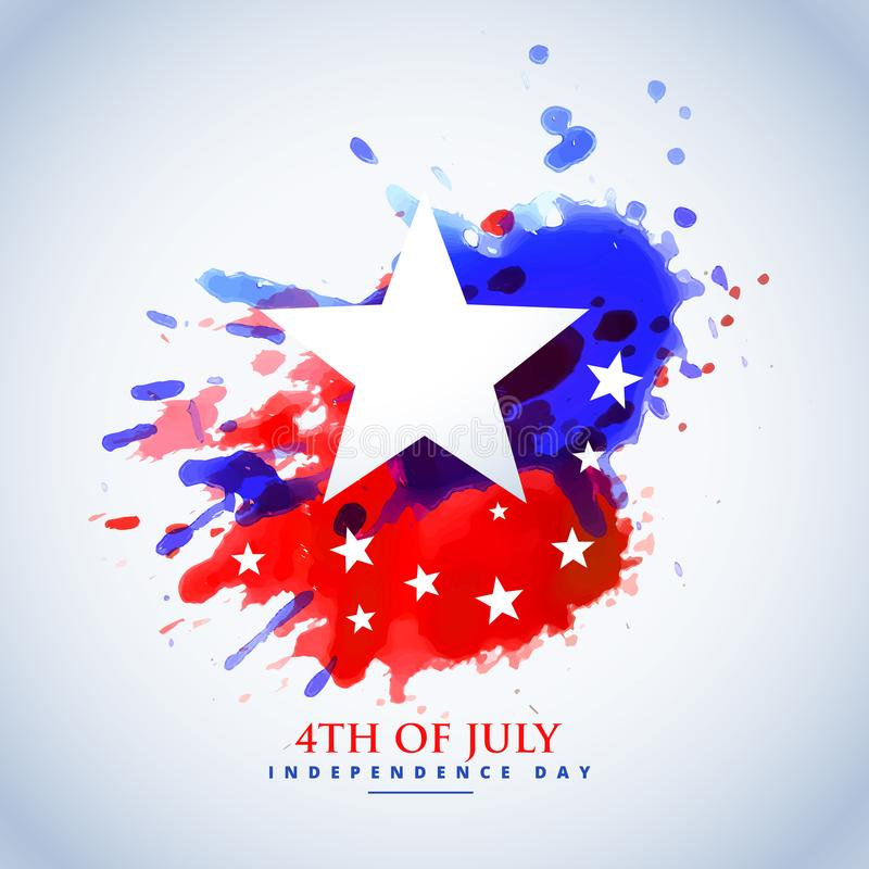 Abstract watercolor american flag for 4th of july stock illustration