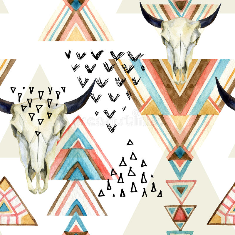 Abstract watercolor animal skull and geometric ornament seamless pattern. Triangles with aztec ornament, watercolor and grunge textures. Hand painted ethnic vector illustration