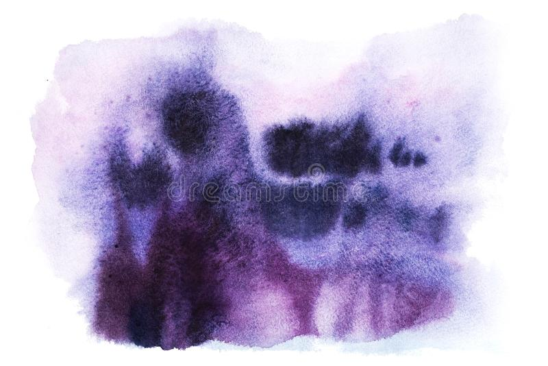Abstract watercolor aquarelle hand drawn art paint splatter stain pink blue purple colors vector illustration
