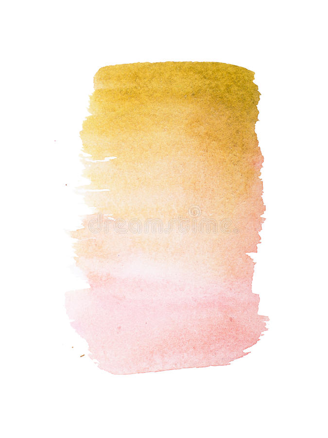 Abstract watercolor aquarelle hand drawn colorful shapes art paint splatter stain on white background.  stock photography