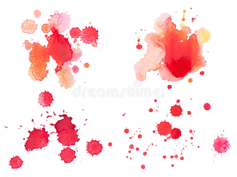 Abstract watercolor aquarelle hand drawn red blood stock photo