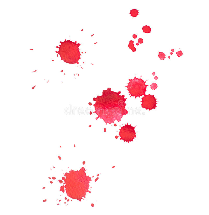 Abstract watercolor aquarelle hand drawn red drop stock photography