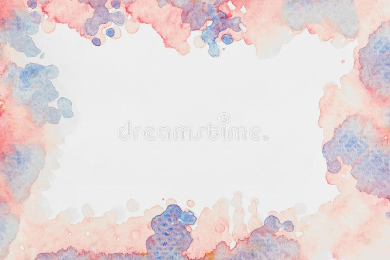 Abstract watercolor art hand painting frame isolated on white background. Mixed water color splashing royalty free illustration