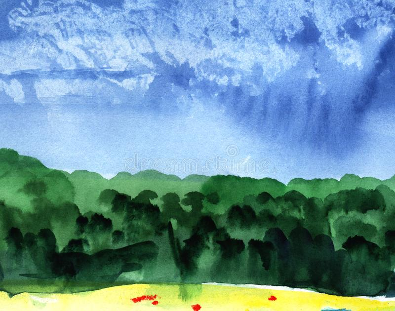 Abstract watercolor background. Blue sky on a sunny day with cumulus clouds. Silhouette of a green forest. stock photo
