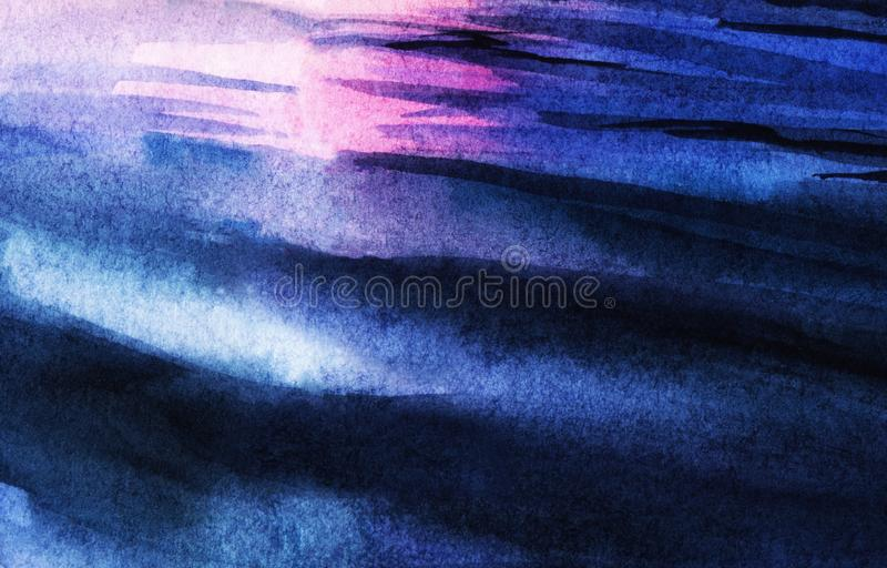 Abstract watercolor background. Blue water ripples of light and dark shades reflecting glare of pink sunset sky. Blurred stock illustration