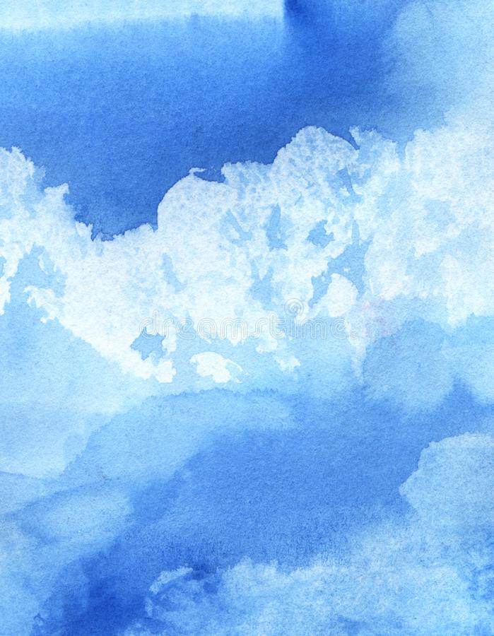 Abstract watercolor background. Cumulus clouds in the blue sky on a sunny day. Hand-drawn watercolor illustration stock illustration