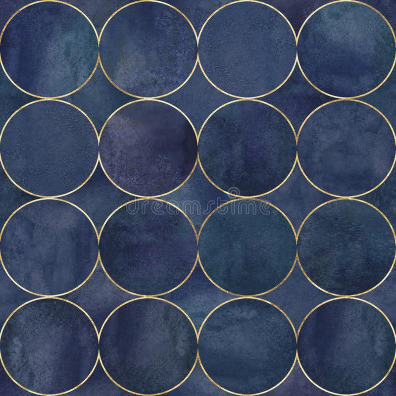 Abstract watercolor background with dark blue teal color circles stock photography