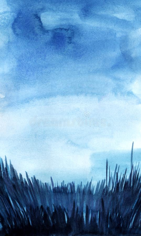 Abstract watercolor background. Dark evening night sky. Fill the gradient from high to light blue. Thick grass silhouette with. Glaze. Hand drawn watercolor royalty free illustration