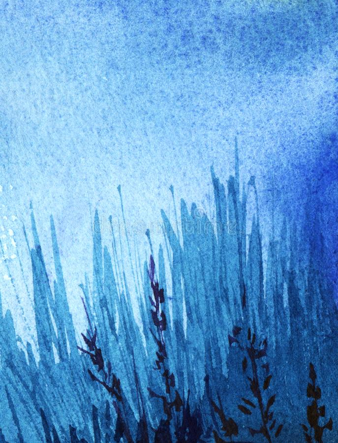 Abstract watercolor background. Dark evening night sky. Fill the gradient from high to light blue. Thick grass silhouette with. Glaze. Hand drawn watercolor royalty free stock photos