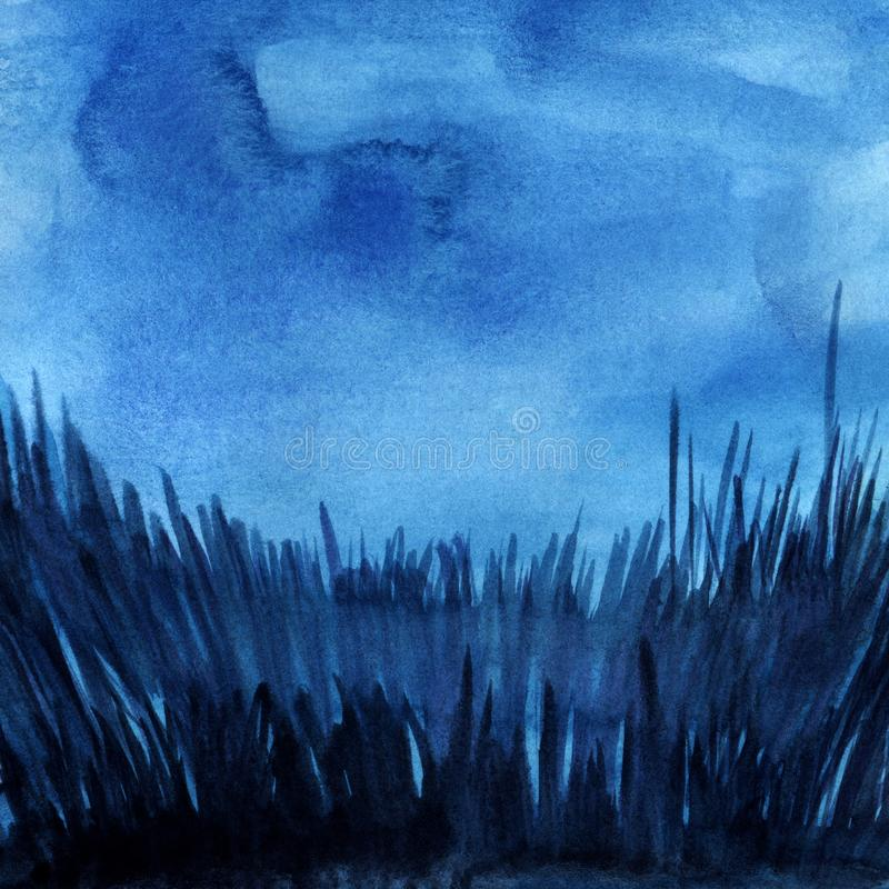 Abstract watercolor background. Dark evening night sky. Thick grass silhouette with glaze. Square format. Hand drawn. Watercolor illustration royalty free illustration