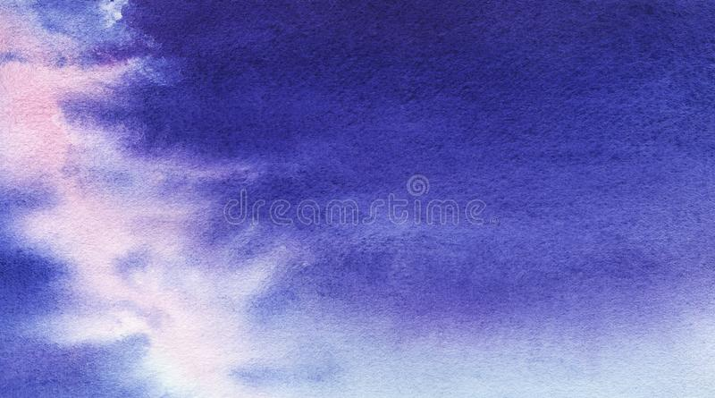 Abstract watercolor background. Eevening or morning sky with a light stripe - the milky way or the trace of an airplane stock photos