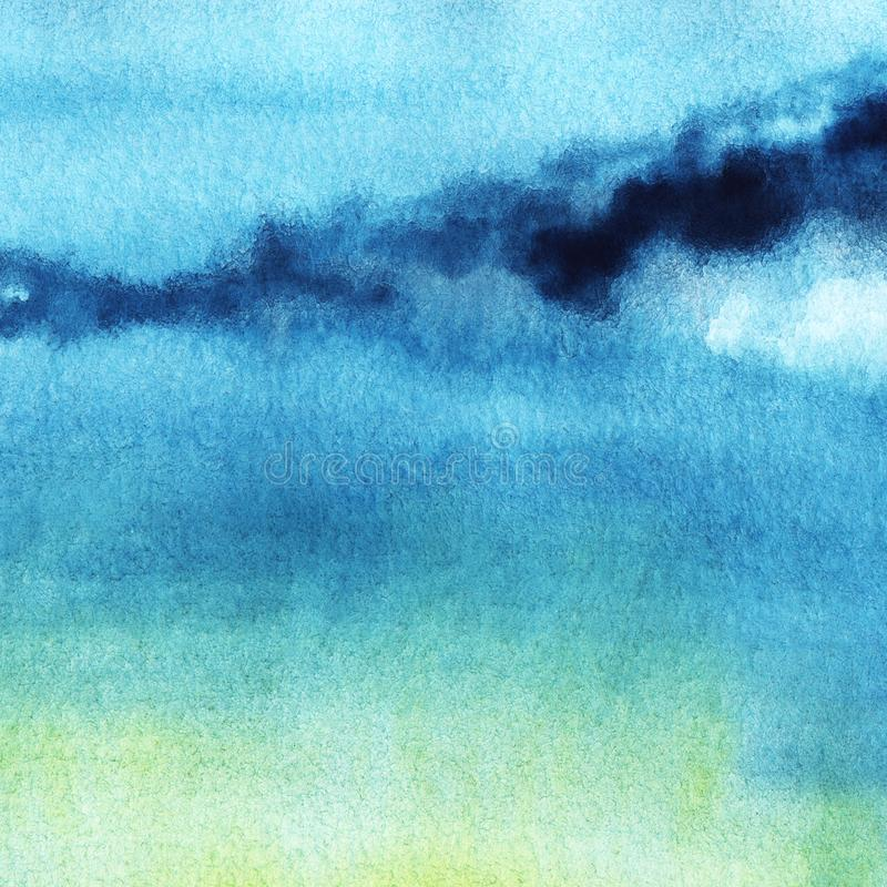 Abstract watercolor background. Evening sky with gentle gradient from bright blue to green and yellow. Hand drawn. Illutration with high resolution on textured vector illustration
