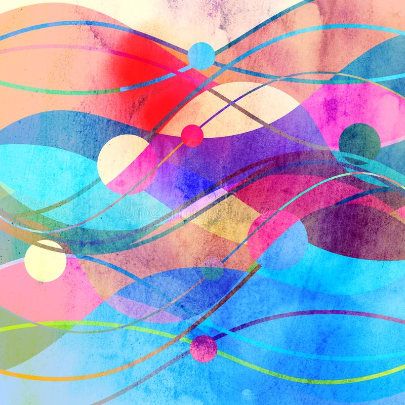 Abstract watercolor background with geometric color objects stock illustration