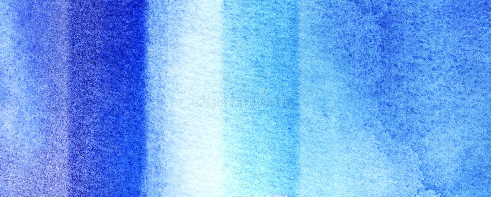 Abstract watercolor background. Geometric vertical lines. Texture of blue watercolor. Cobalt granulation. Flowing spots of blue stock image