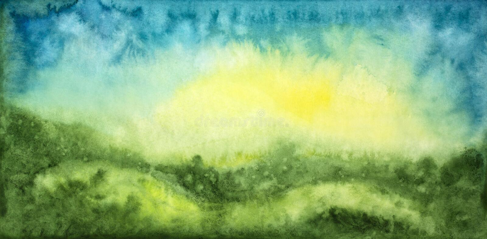 Abstract watercolor background. With grass, sun and sky vector illustration