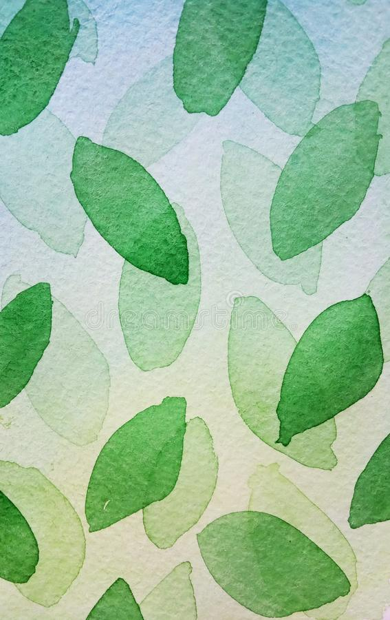 Abstract watercolor background on a green and blue light gradient  leaves  of an oval shape fly and lay. vector illustration