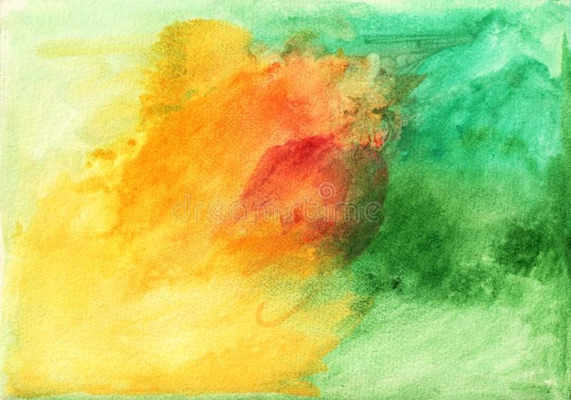 The abstract watercolor background in green and yellow tone ilustração do vetor