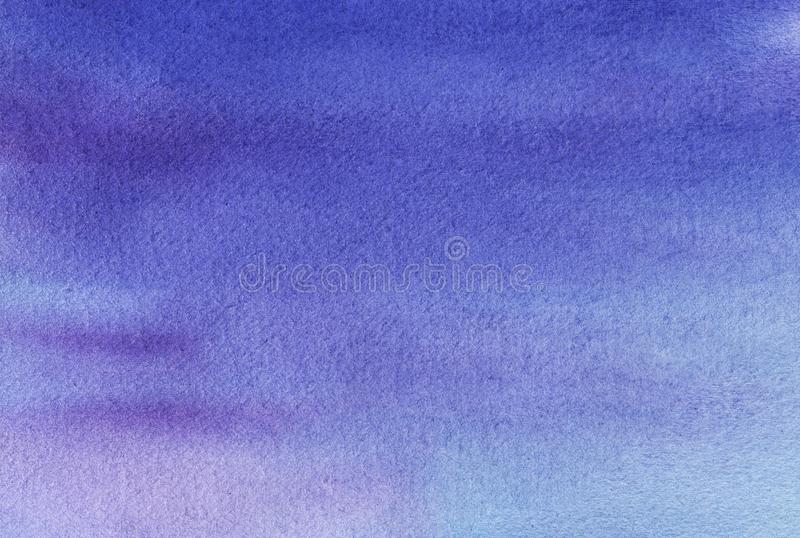 Abstract watercolor background. Imitation of the evening or morning sky. Gradient in blue and violet colors. Hand drawn stock images