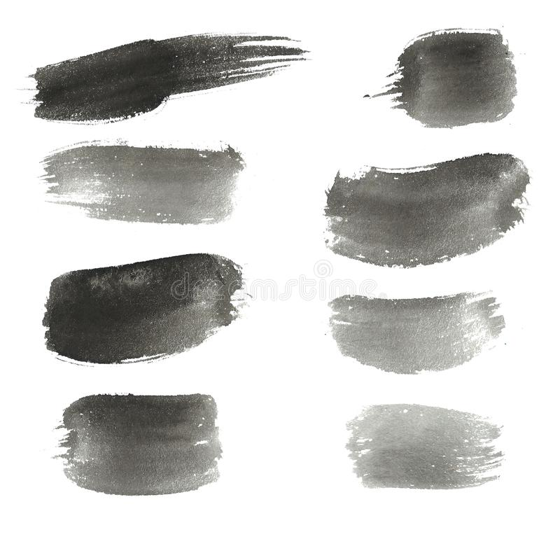 Abstract watercolor background. Ink black hand drawn elements, strokes, circles, lines, spots. Grunge texture royalty free illustration