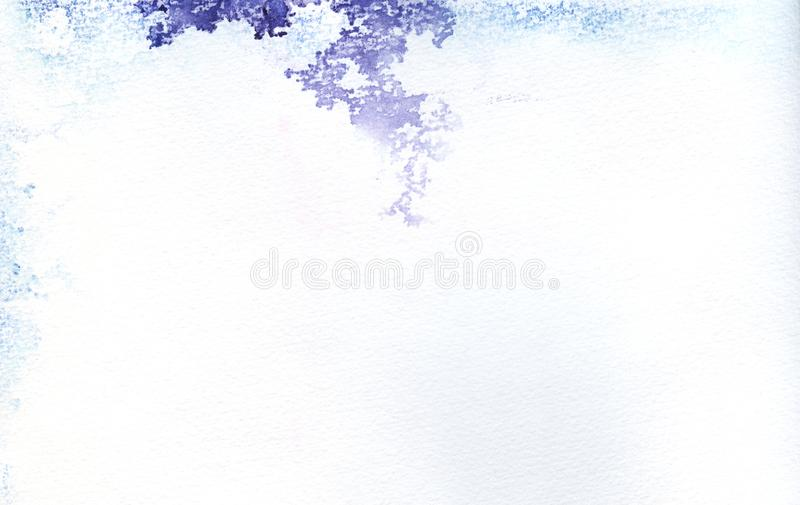 Abstract watercolor background. Paper texture with uneven spots of spilled blue and purple paint. Hand drawn watercolor stock illustration