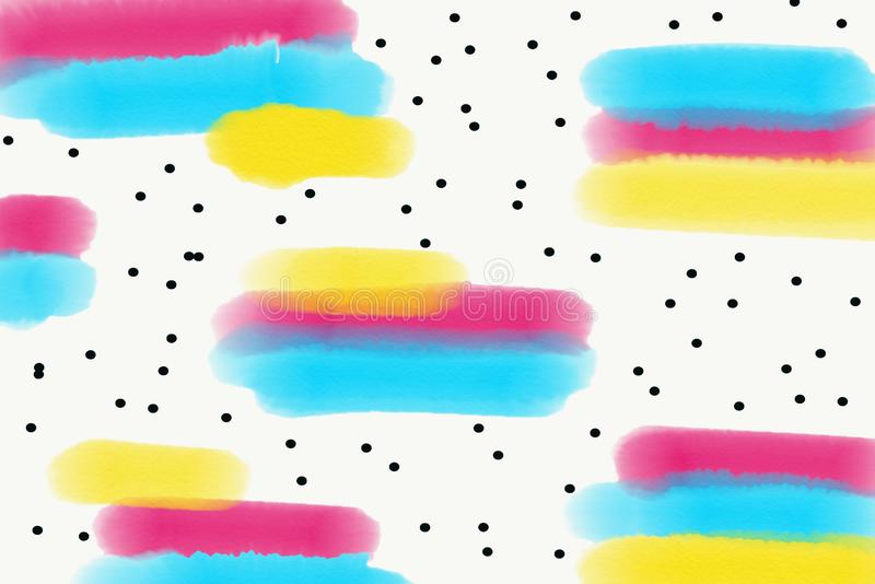 Abstract watercolor background with pink, yellow and turquoise brushstrokes stock illustration