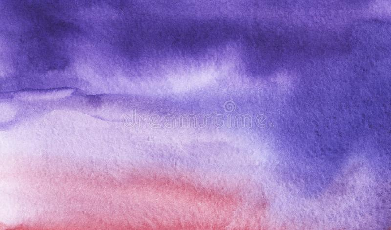 Abstract watercolor background. Saturated gradient from purple to pink. Hand drawn on a textured paper. stock image
