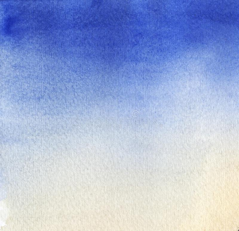 Abstract watercolor background. Smooth color transition from light blue to gently orange. Hand-drawn gradient on texture stock image