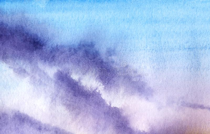 Abstract watercolor background. A smooth gradient from blue to yellow to pink with violet spots. Imitation of the evening sky at royalty free illustration