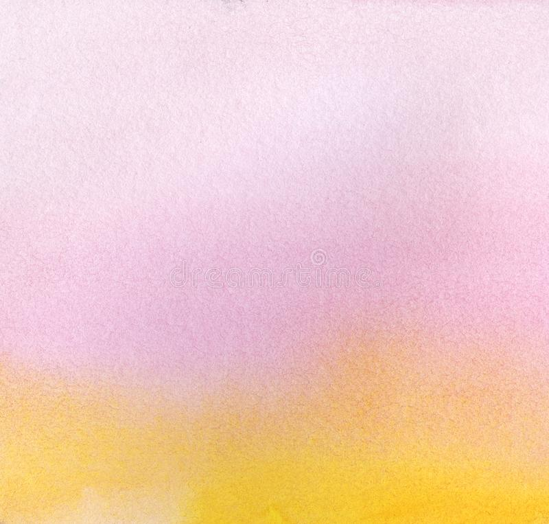 Abstract watercolor background. A smooth gradient from pink-violet to yellow. Hand drawn on paper with texture vector illustration