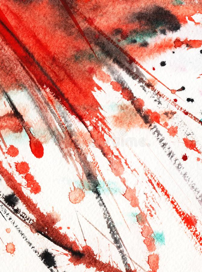Abstract watercolor background. Splashes and rough strokes of the line Red and black on white. Energetic expressive composition. stock illustration