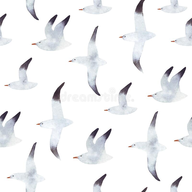 Free Abstract Watercolor Background With Flying Seagulls. White Seagull Isolated On The White Background. Sea Background With A Minimal Stock Images - 181097944