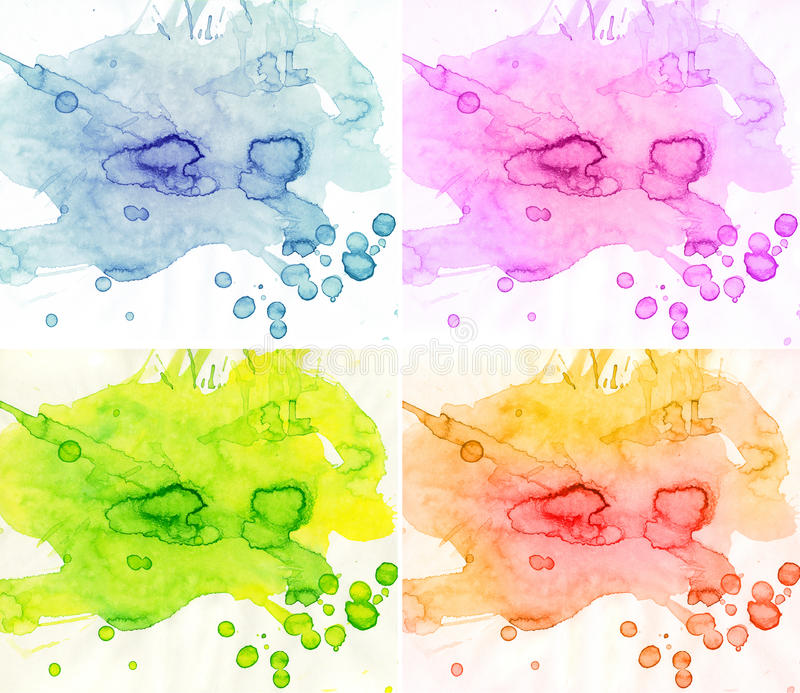 Abstract watercolor backgrounds. 4 seasons abstract watercolor backgrounds stock illustration