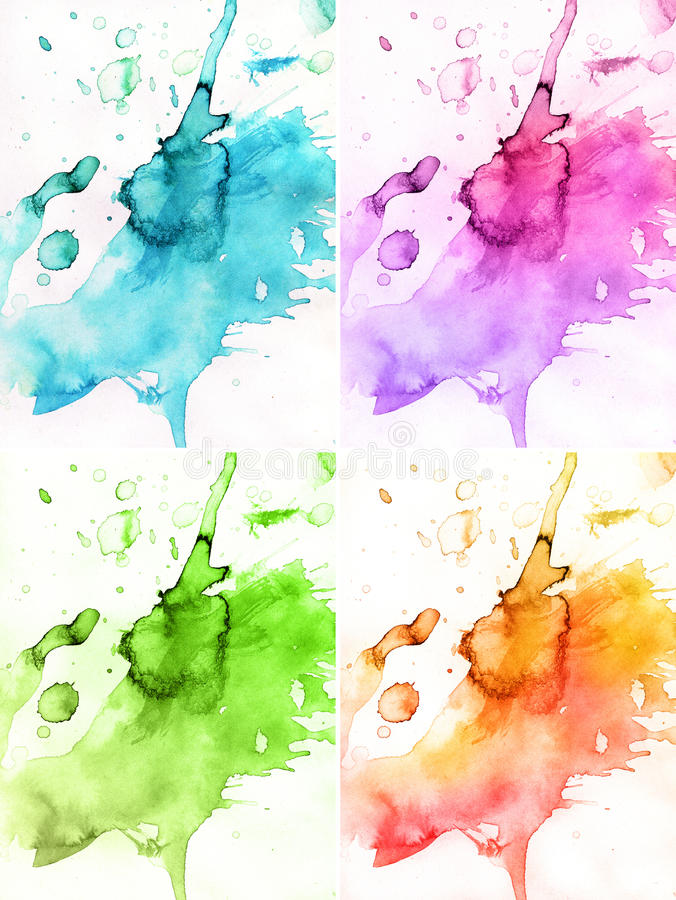Abstract watercolor backgrounds. 4 seasons sastract watercolor backgrounds royalty free illustration