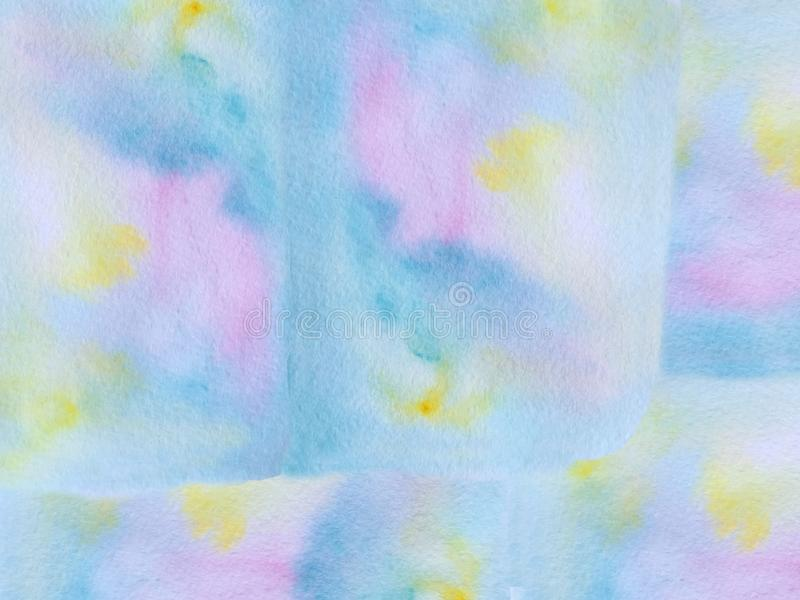 Abstract watercolor blue background with pink and yellow spots. raster illustration for poster design stock illustration