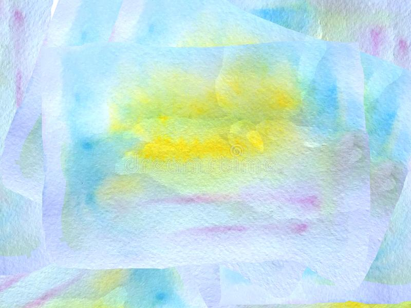 Abstract watercolor blue background with yellow spots. raster illustration for poster design stock illustration