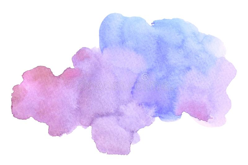 Abstract watercolor blue purple brush stroke with stains on white background royalty free illustration
