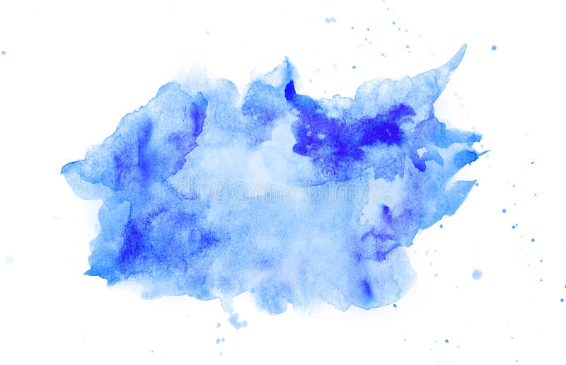 Abstract watercolor blue stain. With splash. Isolated on white background. Perfect for your text or design royalty free stock photo