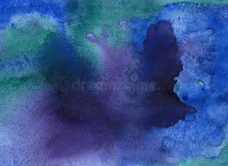 Abstract space watercolor background, Watercolor galaxy painting. stock illustration