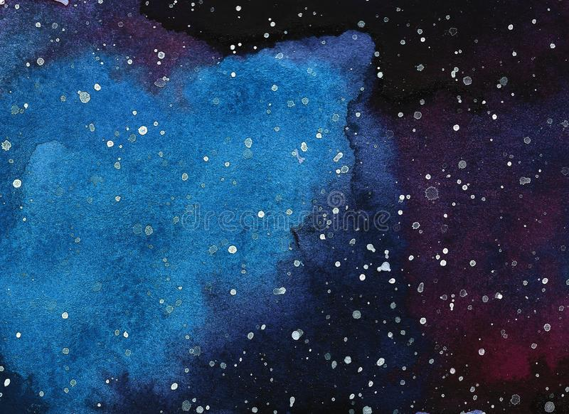 Abstract space watercolor background, Watercolor galaxy painting. Abstract space watercolor background, Watercolor galaxy painting, Hand painted illustration stock photography
