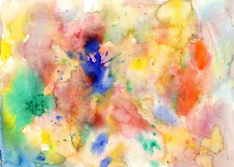Watercolor color stains and brush strokes. Abstract watercolor color stains and brush strokes stock illustration