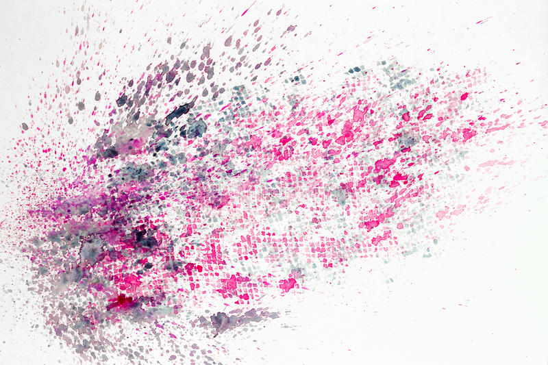 Abstract watercolor colorful background painting with spray, spots, splashes. Hand drawn on paper grain texture. For royalty free illustration