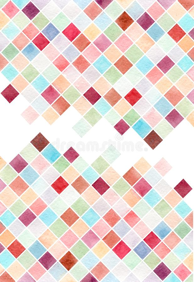 Abstract watercolor colorful background wedding card, business card, geometry, diamonds vector illustration