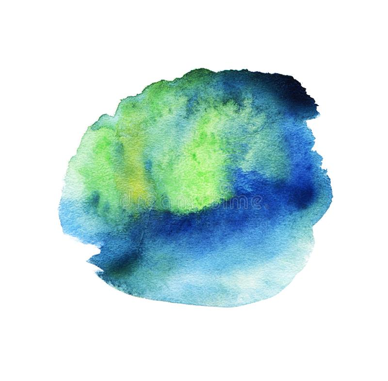 Abstract watercolor colorful blots. Green, blue. Isolated on a white background. stock illustration